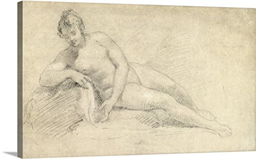William Hogarth Gallery-Wrapped Canvas entitled Study of a Female Nude (pencil and chalk on paper)