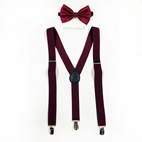 4everStore Unisex Bow Tie & Suspender Sets, Burgundy]()