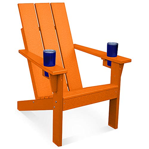 Porchgate Amish Made Heavy Duty Modern Recycled Plastic Adirondack Chair with Cupholders (Recycled Plastic Chairs)