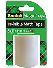 Scotch Onzichtbare tape, 3 navulrollen 19 mm x 25 m, perfect voor scholen, thuis en op kantoor