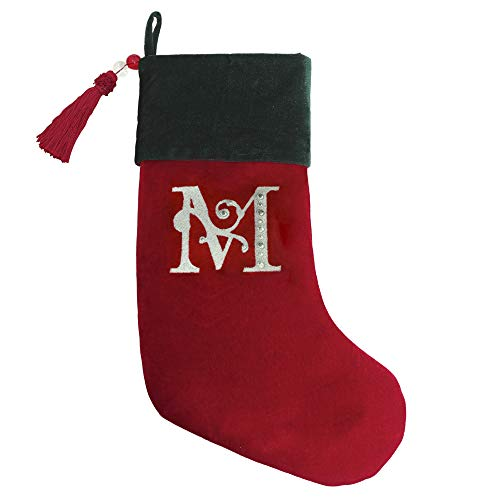 Monogrammed Stocking - Christmas Stocking Red & Green Velvet