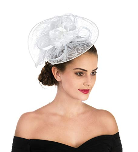 Best Friend White Hat - SAFERIN Fascinator Hat Feather Mesh Net Veil Party Hat Flower Derby Hat with Clip and Hairband for Women (TB2-White Lace)