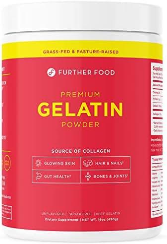 Further Food Premium Gelatin Powder | Grass-Fed, Pasture-Raised, Non-GMO, Paleo, Keto | Unflavored, Excellent Source of Collagen | Pure Beef Gelatin Powder (16 oz.)
