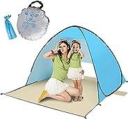 BOGI Beach Tent Pop Up Beach Tent 2-3 Person Shade Sun Shelter UV Protection Lightweight Waterproof Portable C