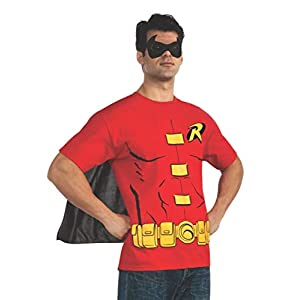 Rubie's Costume DC Comics Men's Robin T-Shirt With Cape And Mask