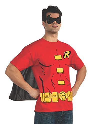 Cartoon Character Costume Ideas Adults (Rubie's Costume DC Comics Men's Robin T-Shirt With Cape And Mask, Red,)