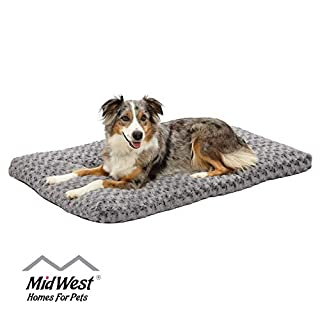 Plush Dog Bed | Ombre Swirl Dog Bed & Cat Bed | Gray 40L x 27W x 2.5H Inches for Large Dog Breeds