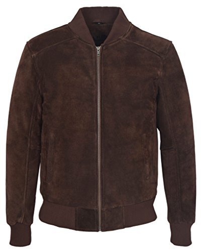 275 Plain Men's Brown Suede Classic Biker Style Italian Fitted Real Leather Jacket (M) ()
