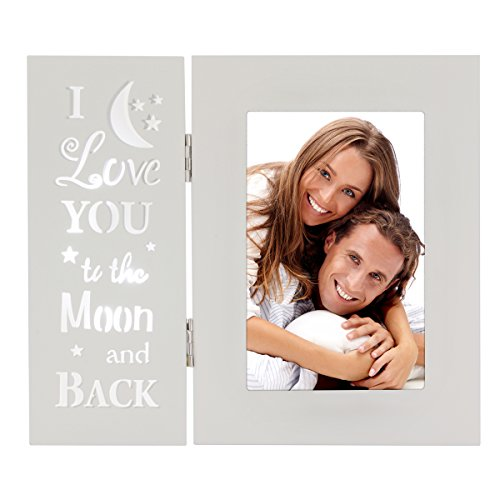 OUCHAN Love You More Picture Frame 4x6 Light up Carved Wording I Love You to The Moon and Back (Photo Frames Mom I You Love)