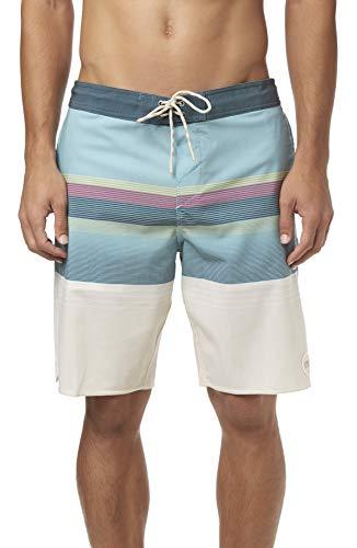 O'Neill Men's Volley Swim Boardshorts, 20 Inch Outseam (Dusty Aqua/Stripe Club, -