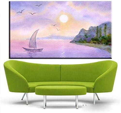 NOVELOVE Imagen de Arte de Pared Acuarela Pintura al óleo Barco de Vela Junto al mar Impresión de Lienzo Pintura Regalo Sin Marco 40 * 80 cm