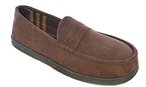 Slippers Check SlumberzzZ Faux Uwear Mens Fleece Suede Socks Brown Lined nw8xZq