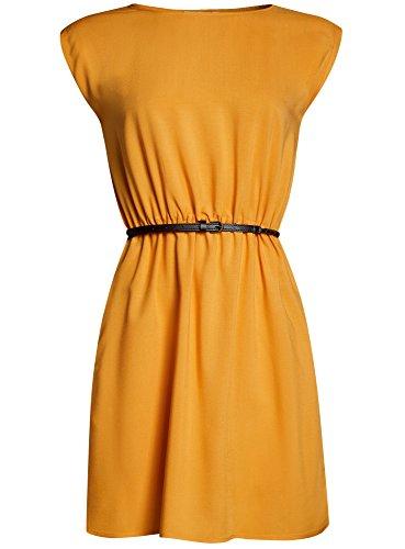 oodji Ultra Mujer Vestido de Viscosa con Cinturón Amarillo (5200N)