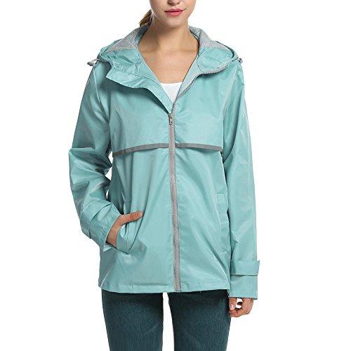 CNlinkco Womens Rain Jacket Hooded Zip Up Waterproof Solid Loose Wind Jakcet (L, Light Blue) (Jacket Sky Blue Mesh)