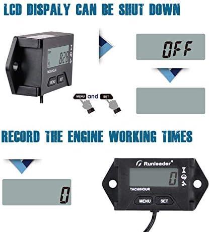 User shutdown Initial hours Settable Runleader Digital Hour Meter Tachometer Use for ZTR Lawn Mower Generator Marine ATV Motor and Gas Powered Equipment Alert RPM Reminder Maintenance Reminder