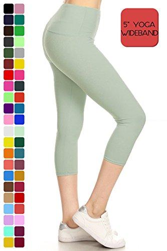 Leggings Depot Women's Yoga Gym High Waist reg/Plus Solid and Printed Workout Capri Leggings Pants 16+Colors (LY5CPX128-SEAFOAM) -