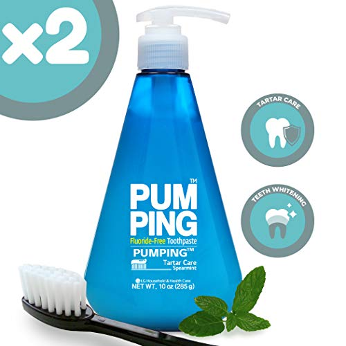 PERIOE Fluoride-Free Single Pump Toothpaste – Innovative Pump for Smart Brushing and Improved Tartar Care, Spearmint, Two Pack (285 g / 10 oz)
