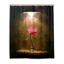 """SUABO Polyester Waterproof Fabric Shower Curtain Decorative Bathroom Curtain with 12 Hooks 60""""(w) x 72""""(h) Inch, Rose In The Dark"""