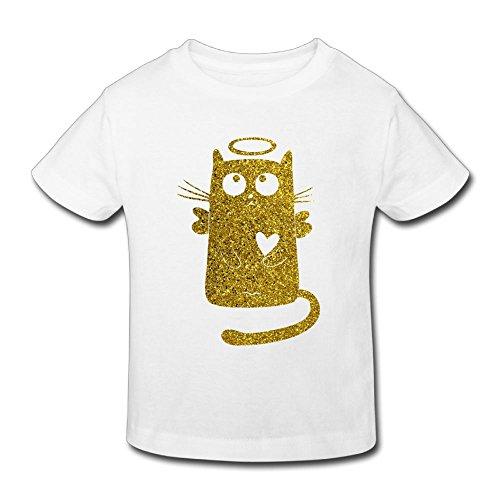 (Funny Golden Glitter Angel Cat T-Shirt Girl Funny Birthday Day Gift 2-6T)