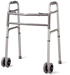 Medline Heavy Duty 500 lbs. Bariatric Extra Wide Folding Walker with Wheels, 5 Inch