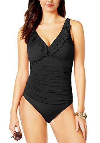 Amourri Women's Swimwear Tummy-Hide Underwire Ruffled One Piece Swimsuit For Women,Black,L(US 12-14)