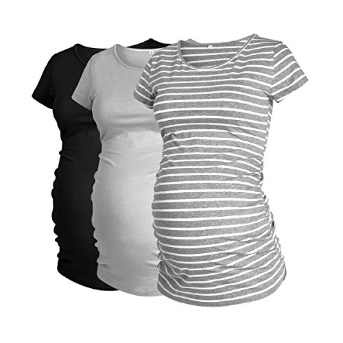 GLAMIX Women's Maternity T-Shirt 3-Pack Long/Short Sleeve & Sleeveless Side Ruched Scoop Neck Basic Pregnancy Tops