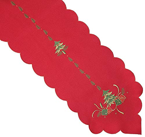 Christmas Tree Embroidery Table Runner Scallop Edge Xmas Tableware 13″ x 72″ (Red)