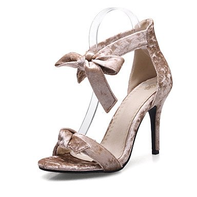 Sandalias Primavera Verano Otoño Zapatos Club Fleece Oficina & Carrera parte & traje de noche Stiletto talón Bowknot Almendra Rojo Negro Almond