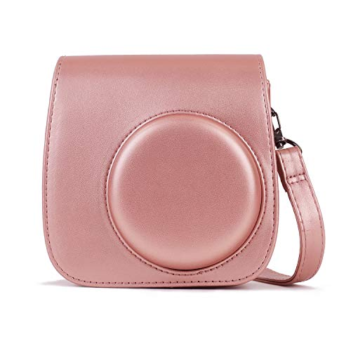 Phetium Soft PU Leather Protective Case Compatible with Fujifilm Instax Mini 9 8+/Mini 8 Instant Camera with Shoulder and Pocket (Blush Gold)