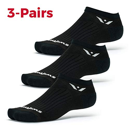 Swiftwick - PERFORMANCE ZERO 3 Pair Multi-Pack | Socks Built for Running and Golf | Fast Drying, Cushioned No-Show Socks | Black, Large ()