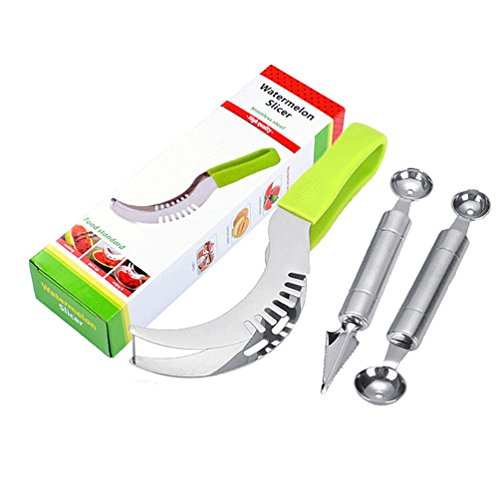 (Seluna Watermelon Slicer Cutter Corer & Server Set - Multipurpose All In One Stainless Steel Knife - Melon Baller Scoop & Fruit Slicer - Comfortable Handle Corer Tongs & Dicer Spoon & Corer)