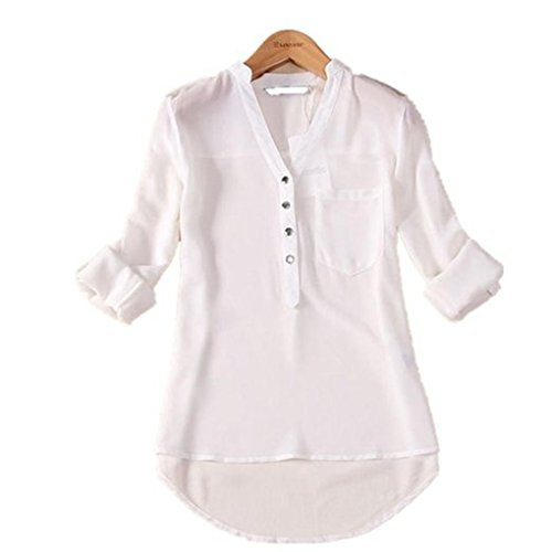 Hatop Women Spring Summer V Neck Chiffon Long Sleeve Casual Shirt Blouse  L  White