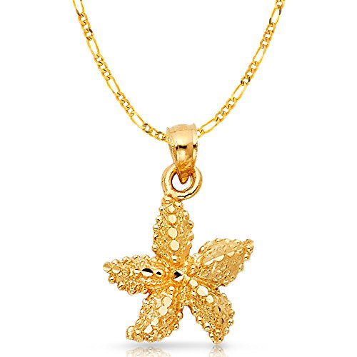 Ioka Jewelry - 14K Yellow Gold Starfish Charm Pendant with 2.3mm Figaro 3+1 Chain Necklace - 22
