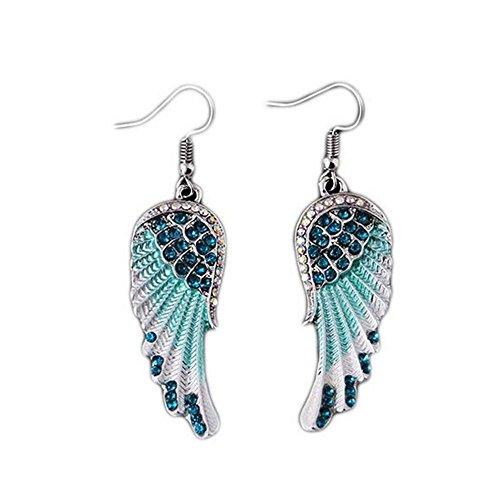 Sunyastor Hot Sale Womens Classic Angel Wings Diamond Design Twist Wave Hoop Earrings for Girls (Blue, One Size)