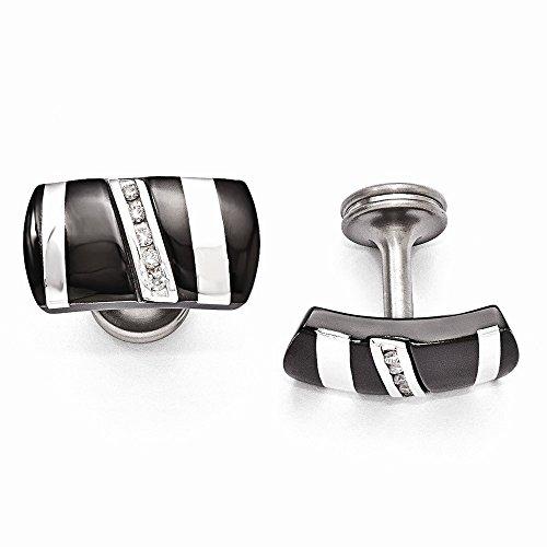 Edward Mirell Black Titanium 925 Sterling Silver .19 Ctw Diamond Cufflinks Man Cuff Link Fine Jewelry Gift For Dad Mens For Him