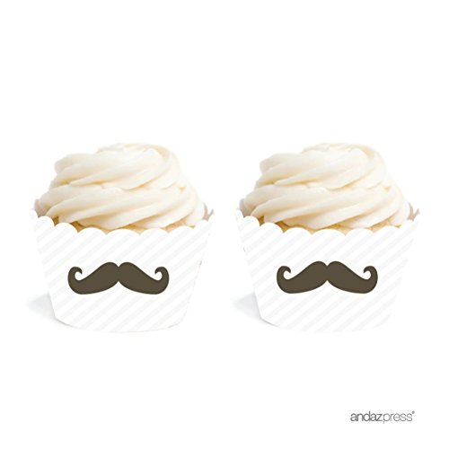 Andaz Press Birthday Cupcake Wrappers, Mustache Black 20-Pack, Decor Decorations Wraps Cupcake Muffin Paper Holders]()