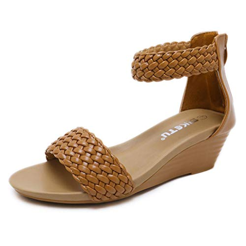 FORUU Fashion Women Sandals Summer Bohemia Shoes Wedges Weave Middle Heel Sandals Brown
