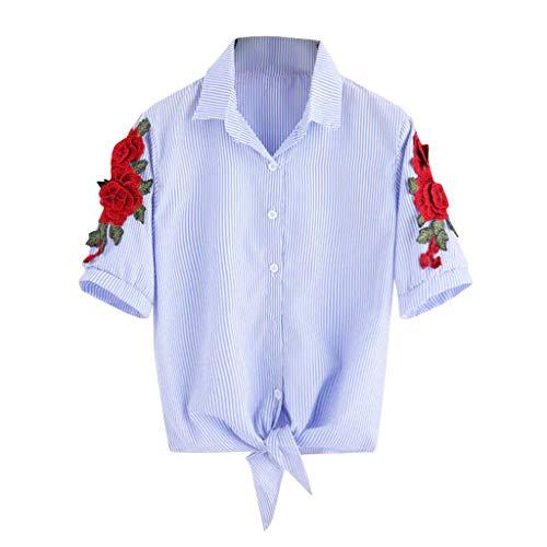 ERLOU T-Shirts Women's Summer Short Sleeve Striped Red Flower Embroidered Cardigan Shirt Tunic Tank Tops Blouse (Blue, - Sweatshirt Ferrari Embroidered