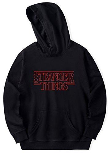 SERAPHY Unisex Hoodies 2018 Trendy Faces New Season Stranger Things Hooded Sweatshirts Hip Hop Cotton Jumper Black3 M