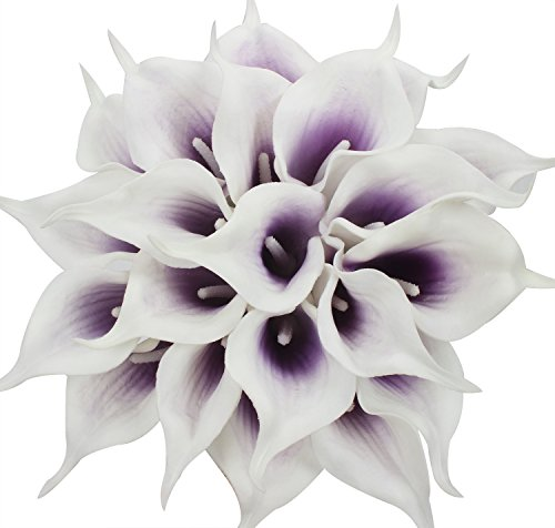 Duovlo 20pcs Calla Lily Bridal Wedding Bouquet Lataex Real Touch Artificial Flower Home Party Decor (Purple in -