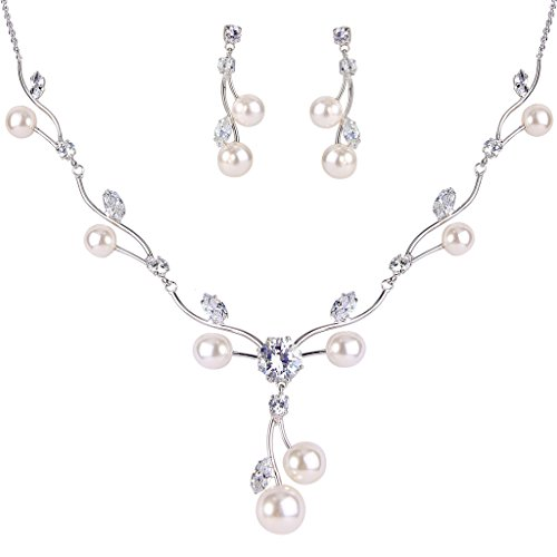 EleQueen Women's Cubic Zirconia Simulated Pearl Flower Filigree Bridal Necklace Earrings Jewelry Set Ivory Color Silver-tone (Real Pearl Jewelry Sets For Women)