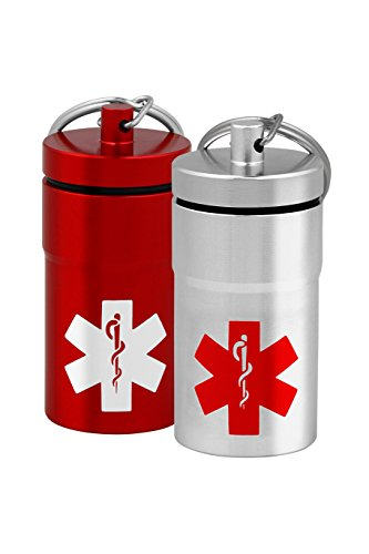 Womens Emblem - Ultra-Portable Stash Jar - Small Airtight Aluminum Smell-Proof Container with Medical Emblem Design for Men & Women - Screw Lid Lock Secures Medications, Herbs, Pills & more - Keychain Fob – 2 pack
