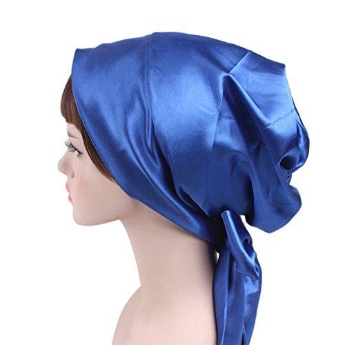 Bingirl Women Fashion Beanie Hat Elegant Satin Cloth Soft Bowknot Chemotherapy Cap Sapphire