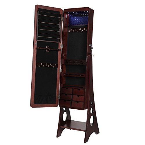 SONGMICS 8 LEDs Jewelry Cabinet Armoire with Beveled Edge Mirror, Gorgeous Jewelry Organizer Large Capacity Brown Patented Mother's Day Gift UJJC89K by SONGMICS (Image #8)