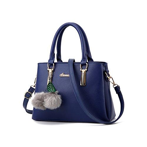 Women's Designer Top Handle Handbag Tote Crossbody Bag Pu Faux Leather Purse (Blue)