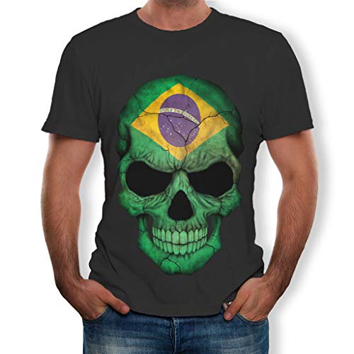 - ►Shusuen ◄ Fashion Men Solid 3D Print Skull Shirt Short Sleeve Blouse Flag Star Striped Tops Spring 2019 Casual Pullover