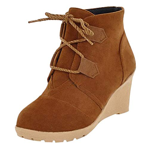 Carolbar Women's Short Boots Yellow Wedge Dark Heel Platform Western rrqdXT