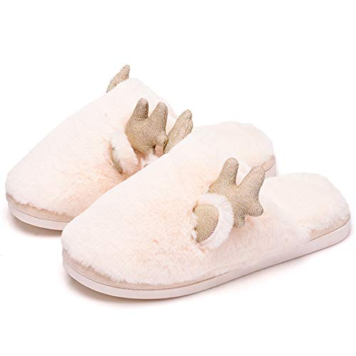 36 Indoor Home Non color Bottom Couple Household Winter White Td Pink Plush slip Floor Cartoon Cotton Autumn And 37 Lovely Size Thick Slippers qwn4gAR