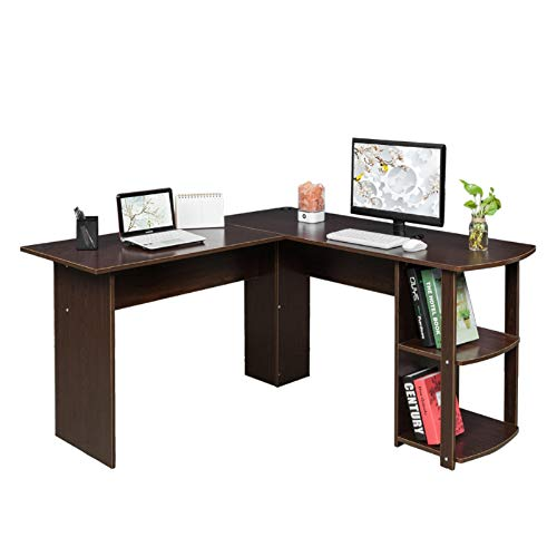 L-Shaped Desk Corner Computer Desk with 2 Layer Bookshelves Modern PC Laptop Study Table Workstation Computer Desk L-Shaped Desk Corner Laptop Computer Table with Wood Shelf for Home Office
