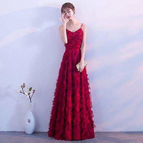 Strap Toasten Die Atmosphäre Rock Abendkleid Braut Rote Langen Danken Hochzeit Fest Lange würdevolle Weinrot der MoMo UwT1YT
